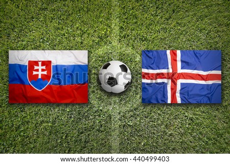 Slovakia vs. Iceland flags on soccer field Stock photo © kb-photodesign