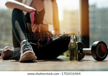 woman dumbbell exercise stock photo © kurhan