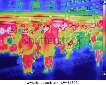 Recording with Thermal camera people at the city railway station Stock photo © smuki