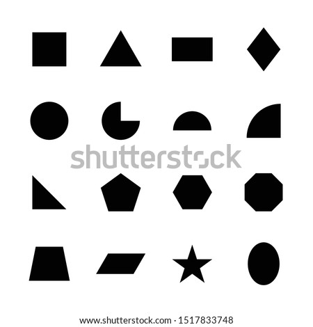 Set with filled black geometric shapes and elements with frame,  Stock photo © Vanzyst
