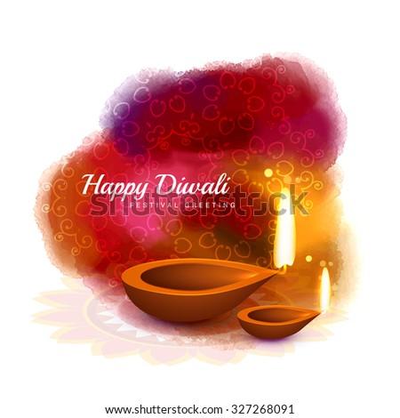 Zdjęcia stock: Happy Diwali Colorful Design With Diya In Watercolor Style Vecto