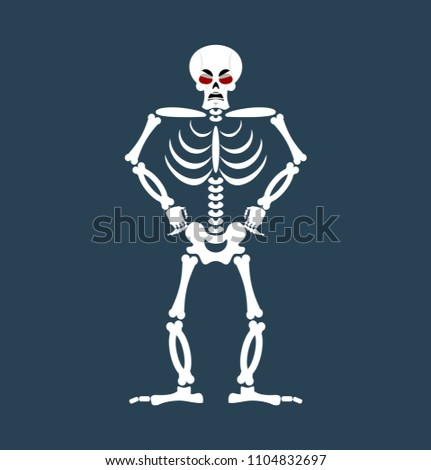 Skeleton angry Emoji. Skull grumpy emotion isolated. Human bones Stock photo © popaukropa