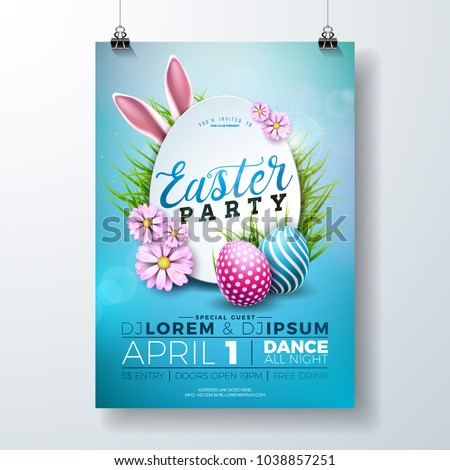 Vector Easter Party Flyer Illustration with painted eggs, rabbit ears and typography elements on nat Stock photo © articular