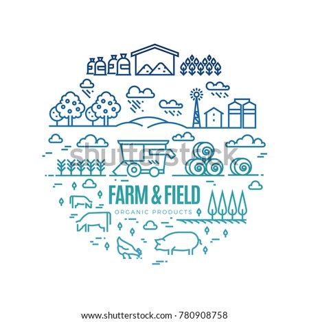 organic farming   modern thin line design style vector illustration stock photo © decorwithme