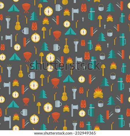 camping knife symbols seamless pattern silhouette distressed style outdoor adventure equipment wal stock photo © jeksongraphics