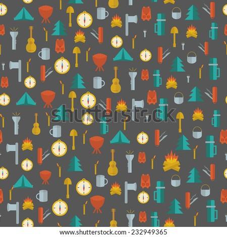 Foto stock: Camping · faca · símbolos · silhueta · estilo
