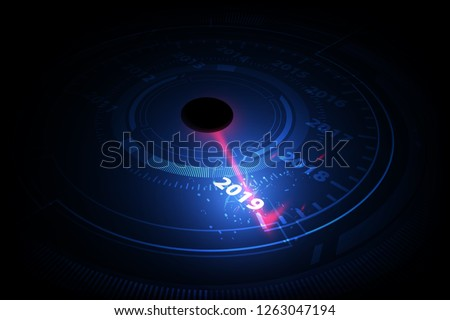 Calendar 2019 in speedometer car vector illustration on white Stock photo © m_pavlov