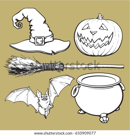 Szett ünnep halloween rajz matricák meghívó Stock fotó © Lady-Luck