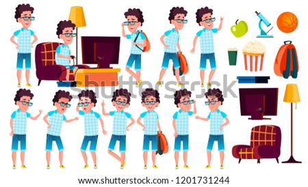 мальчика школьник Kid набор вектора школу Сток-фото © pikepicture