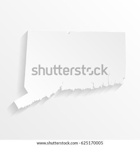 Connecticut mapa sombra cortar papel isolado Foto stock © kyryloff
