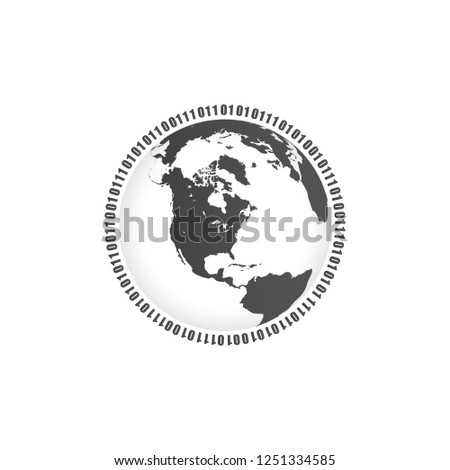 Binary Circle, one and zero digits around the globe. Vector illustration isolated on white backgroun Stock photo © kyryloff