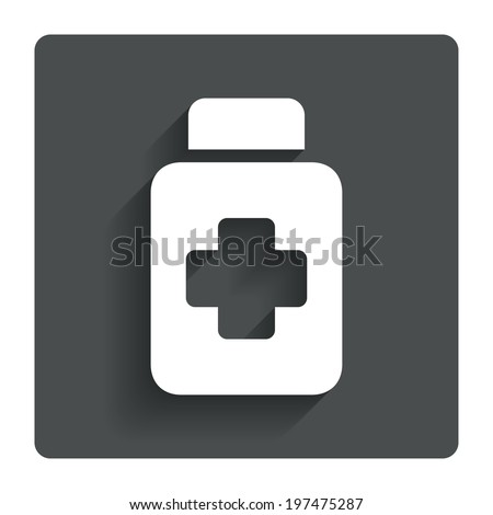 Pill bottle icon with medical cross. Modern pill bottle for pills or capsules. Flat style vector ill Stock photo © kyryloff