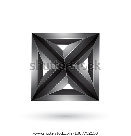 Black 3d Geometrical Embossed Square and Triangle X Shape Vector Stock photo © cidepix