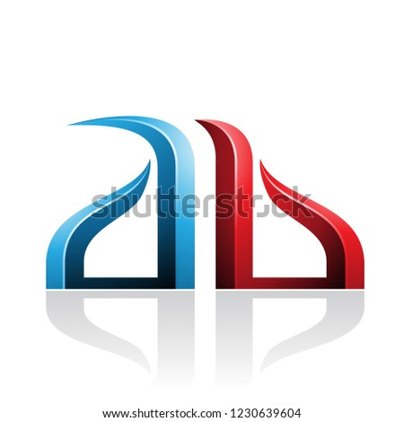 Blue and Red Bow-like Embossed Letters of A and B Vector Illustr Stock photo © cidepix