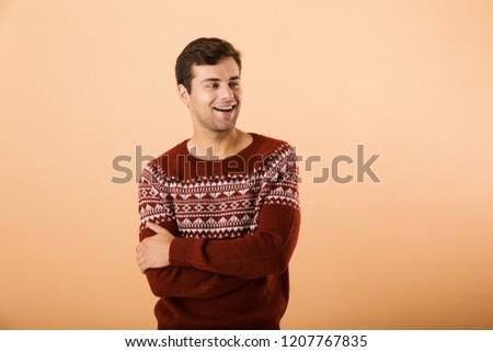 Immagine bruna uomo 20s setola indossare Foto d'archivio © deandrobot