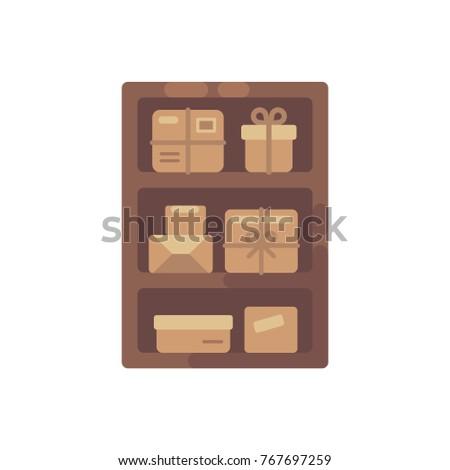 Fából készült faliszekrény barna dobozok öreg csomag Stock fotó © IvanDubovik