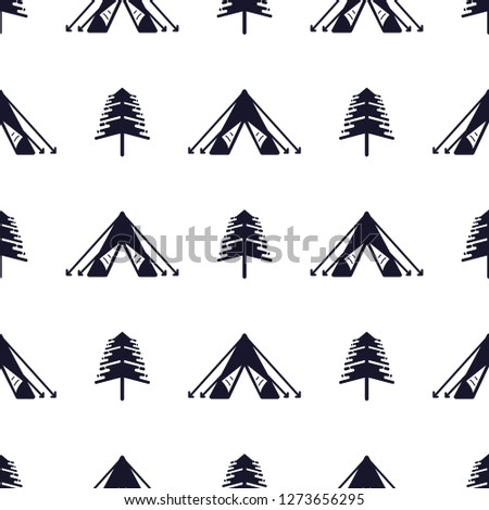 tent and tree seamless pattern silhouette distressed style outdoor adventure equipment wallpaper b stock photo © jeksongraphics