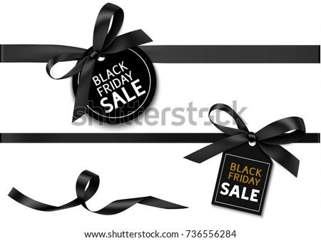 Zestaw realistyczny czarny łuk wstążka Zdjęcia stock © olehsvetiukha