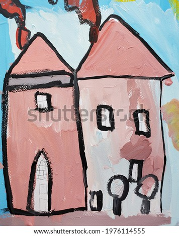 creative paint brush with town houses on a turquoise color pantone background copy space painting stock photo © artjazz