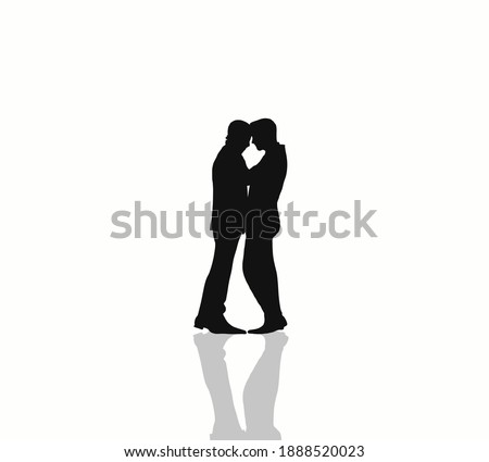 Young homosexuals shadow couple love each other on a white background. Stock photo © Lopolo