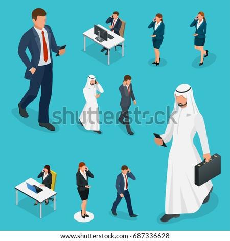 Arabes heureux femme parler téléphone portable vecteur Photo stock © NikoDzhi