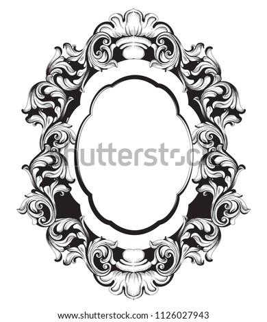 Vintage baroque miroir cadre vecteur français Photo stock © frimufilms