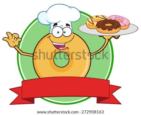 Csokoládé szakács fánk rajzfilmfigura kör címke Stock fotó © hittoon