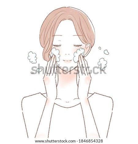Illustration of a cute lady who is washing the face with Bubble  Stock photo © Blue_daemon