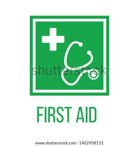 Stethoscoop silhouet kruis groene vierkante eerste hulp Stockfoto © kyryloff