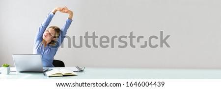 női · menedzser · nyújtás · karok · mosolyog · fiatal - stock fotó © andreypopov