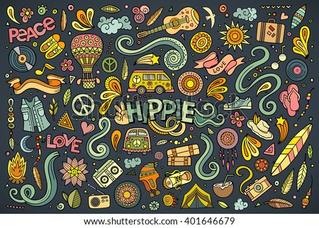 colorful vector hand drawn doodles cartoon set of hippie combinations of objects stock photo © balabolka