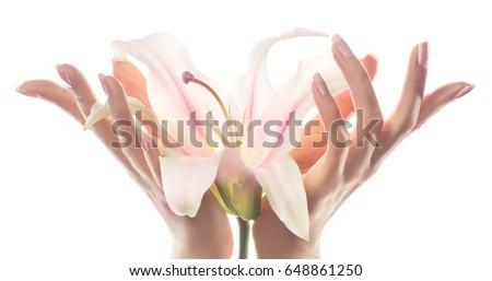 Mano cura della pelle primo piano bella donna mani luce Foto d'archivio © serdechny