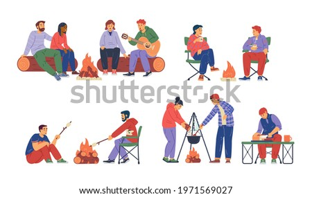 Couple near Bonfire Singing Songs and Cooking Food Stock photo © robuart