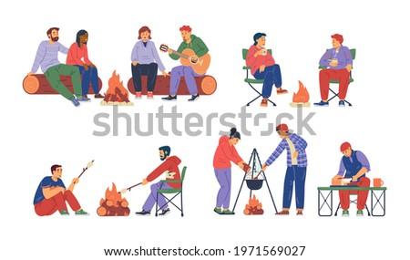 Paar vreugdevuur zingen koken voedsel vector Stockfoto © robuart
