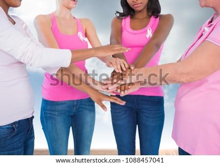 乳癌 女性 手 一緒に 空 雲 ストックフォト © wavebreak_media