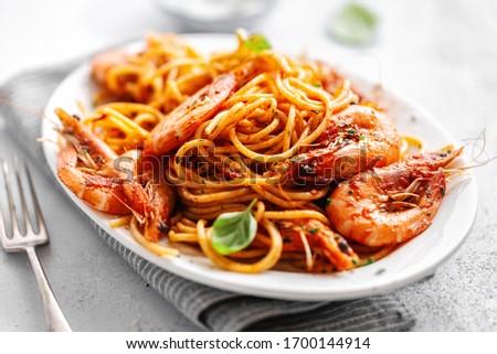 grilled shrimps with tomato sauce Stock photo © joannawnuk