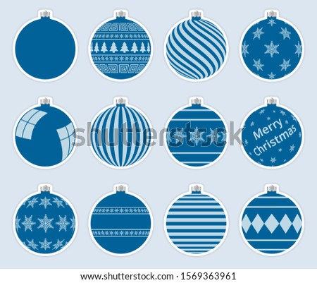 Magic, navy christmas balls stickers isolated on gray background. High quality vector set of christm Stock photo © ukasz_hampel