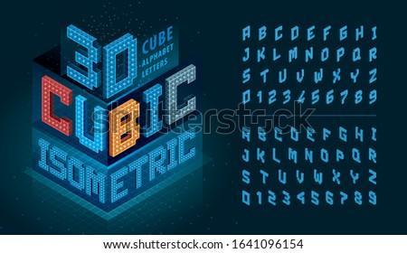 Isometric 3d cubes logo design. Stock Vector illustration isolated on white background. Stock photo © kyryloff
