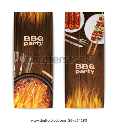 Bbq grill partij banners ingesteld vector Stockfoto © frimufilms