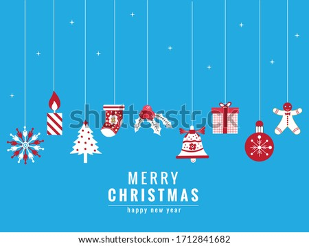 Christmas greetings ornament elements hanging in blue background Stock photo © cifotart