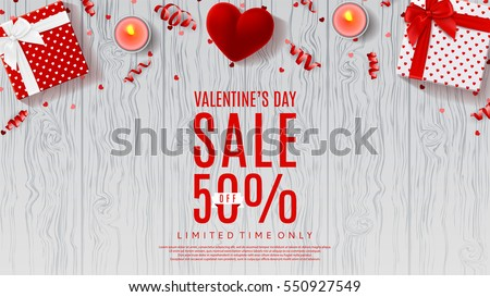 Web banner for Valentines Day Sale. Top view on composition with chocolate heart, gift box, confetti Stock photo © ikopylov