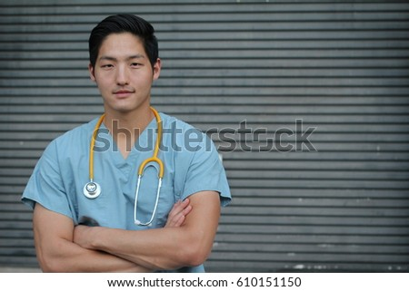 успешный молодые мужчины практикующий врач синий равномерный Сток-фото © pressmaster