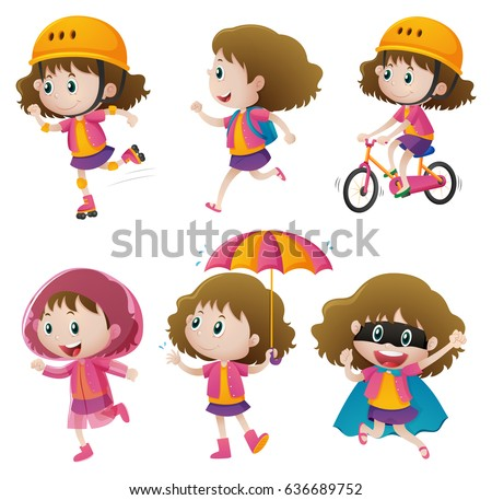 Set of happy children doing different actions Stock photo © bluering