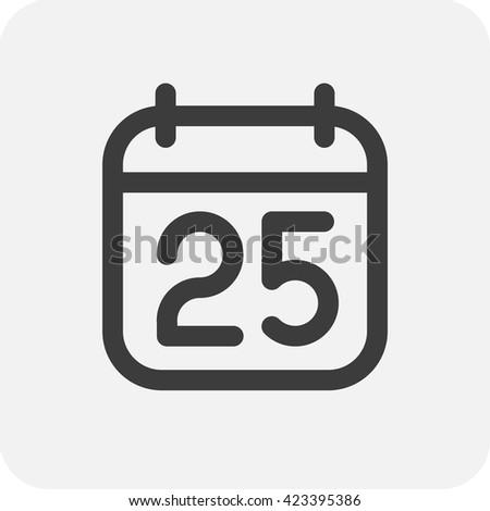 Basit siyah takvim ikon 25 tarih Stok fotoğraf © evgeny89