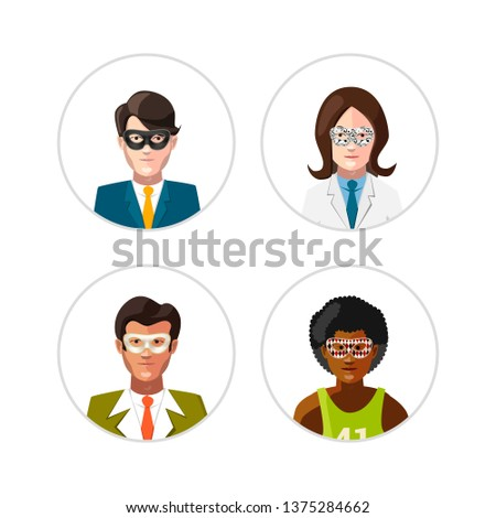 Set of flat people avatars in carnival masks, anonymity concept on white Stock photo © evgeny89