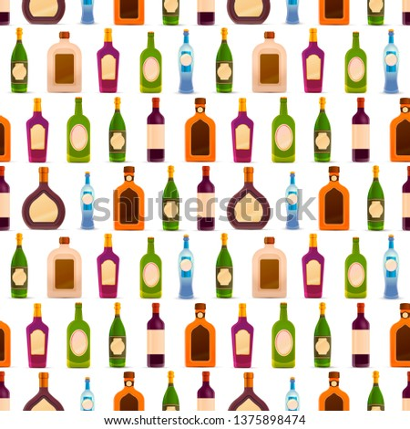 Lot of different glossy bottles with alcohol in a row on white, seamless pattern Stock photo © evgeny89