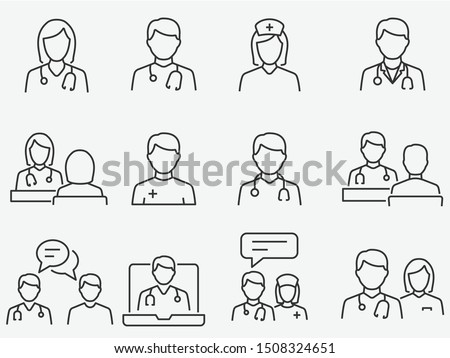 woman doctor icon vector outline illustration Stock photo © pikepicture