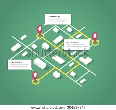 Gps Locaton Mark And Building isometric icon vector illustration Stock photo © pikepicture