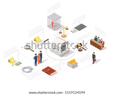 Court Magnifier Law And Judgement isometric icon vector illustration Stock photo © pikepicture
