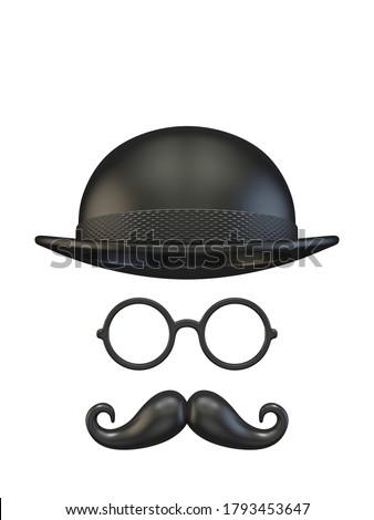 цилиндр Hat очки усы 3D Сток-фото © djmilic